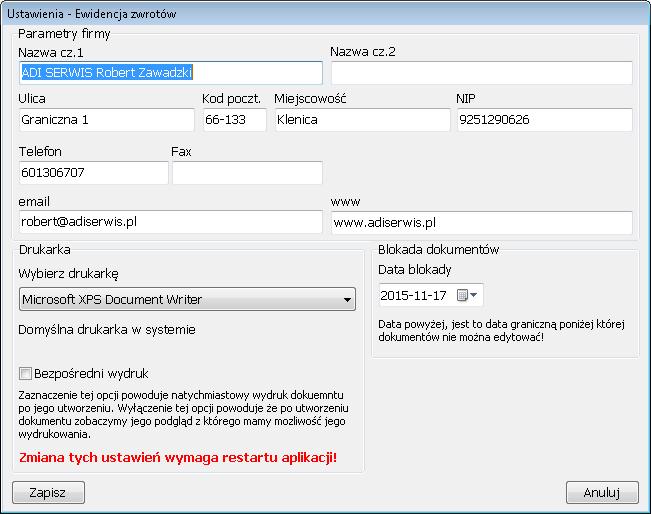 Ewidencja zwrotów - konfiguracja programu